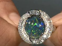 #Natural #Colour #explosion like a #JacksonPollock #painting. Black #opal by @Gem_KatFlorence #luxury