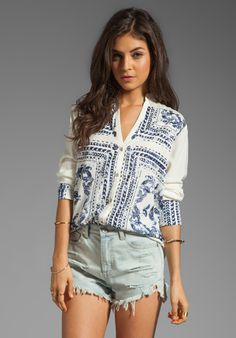 INSIGHT Bandana Shirt in Almond at Revolve Clothing - Free Shipping!