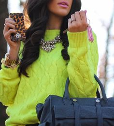 neon yellow & statement necklace