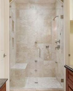 New Bathroom Shower Tub Remodel Small Spaces Ideas Master Bathroom Shower, Shower Tub, Bathroom Ideas, Bathroom Showers, Bathroom Small, Bathroom Vanities, Bathroom Heater, Clean Shower, Cream Bathroom