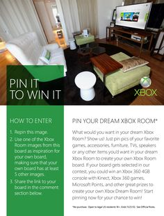 It's a Pinterest #contest! Pin your dream Xbox room for a chance to win an Xbox 360, Kinect sensor, Xbox games, Microsoft Points, and more! Full legal and rules: http://xbx.lv/RW0Rx0 #Xbox
