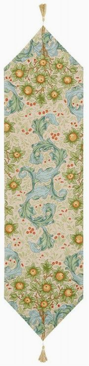 Orange Tree with Acanthus Leaves table runner - beige - William Morris | Unicorn Tapestries, French Table, Jackdaw, Beige Background, Leaf Table, Acanthus, William Morris, Table Runners, Wall Tapestry