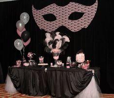 Sweet 16 masquerade candy bar