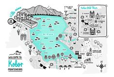 Kotor, Montenegro illustrated map, by Rosie Apps illustration www.rosieapps.com
