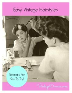 1930s, 1940s, 1950s vintage hairstyles for long and short hair: pin curls, waves, back role, poodle curls, victory roll, and turban scarves. Best tutorials.