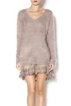 Long sleeve beige fuzzy v-neck tunic length sweater with lace trimmed hem.  Can also be worn as a dress. Fuzzy Sweater Tunic by Ryu. Clothing - Tops - Tunics Clothing - Tops - Long Sleeve Indiana