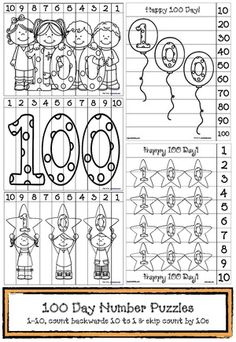 100 Day activities:  15 FREE 100 Day black and white number puzzles for your kiddos to color, cut and put together.  For a cool 100 Day bulletin board, have students glue the pieces on a sheet of construction paper.  Leaving a gap in-between each piece creates a cool mosaic effect.  Includes blank numbered puzzles for students to draw their own.