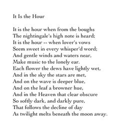 It Is the Hour - George Gordon, Lord Byron