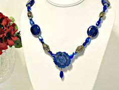 Blue Mother of Pearl Flower Pendant Necklace   by RomanticThoughts
