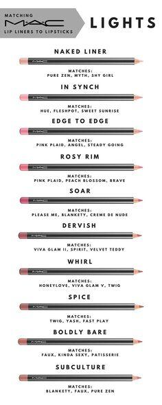 Matching MAC lip liners to lipsticks. Part 1 - Lights
