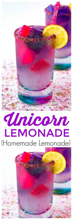 Unicorn Lemonade is a Fun and Tasty Color Changing Drink. Magical just like Unicorns, but Super Tasty this Unicorn Drink Will be a Hit for Everyone. This is a Fruity Unicorn Lemonade Drink at Home. This Easy Lemonade Recipe is Made with Homemade Lemonade! Kid Drinks, Non Alcoholic Drinks, Party Drinks, Cocktail Drinks, Yummy Drinks, Yummy Food, Drink Recipes Nonalcoholic, Birthday Drinks, Easy Fruity Mixed Drinks