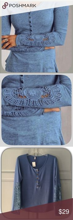 """HP NWT Pretty Cornflower Blue Crochet Lace T-Shirt HP 9/16/16! """"Casual Friday Party """"! The lace on this top is so pretty!! It is a cornflower blue in color! This is a bit shorter than the stock pic shows! Order a size up, for it seems to run small! But is such a pretty top! Cotton Blend! Chosen by @stunning_29 please check out her amazing closet!  Boutique Tops Tees - Long Sleeve"""