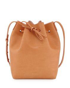 Mansur Gavriel Vegetable-Tanned Leather Bucket Bag Cammello/Rosa