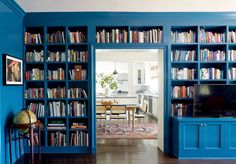 Taylor Jacobson Interior Design - Full service interior design and consultation for residential and commercial clientele in Los Angeles and beyond Navy Paint, Hague Blue, Diy Pendant Light, Home Libraries, Built Ins, Decoration, Bookshelves, Bookshelf Wall, Living Spaces