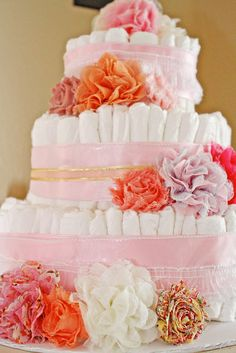 Diaper Cake | Baby Girl Vintage Tea Party Baby Shower
