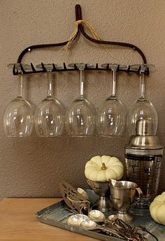 Old garden rake as wine glass holder!