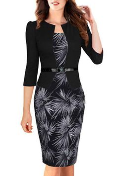 OL Style Round Neck 3/4 Sleeve Printed Faux Twinset Dress For Women