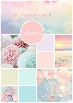 Pastels in Pale Green, Blue, Green, Pink,Yellow, Lilac, White
