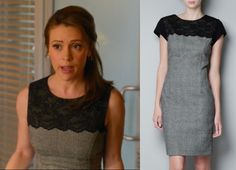 Mistresses Episode 10: Savi's (Alyssa Milano) plaid Zara Combined Lace Dress #mistresses #getthelook