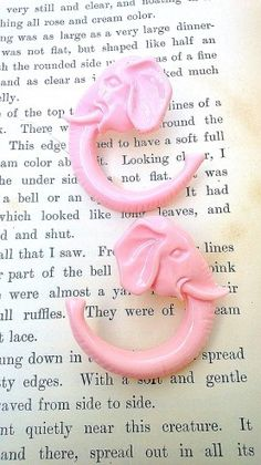 RARE-Authentic Vintage Pink Elephant Upcycled Ear Gauges. I already have my ears gauged, the problem is not knowing what size I'm going to stop at!