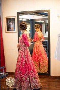 Pink and Orange Bridal Lengha