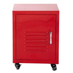 Loft Red Metal Bedside Table: Industrial style cabinet on castors which can be wheeled under your desk Table Storage, Locker Storage, Loft, Kitchen Organisation, Cabinet Styles, Colorful Furniture, Furniture Collection, Bedside, Industrial Style