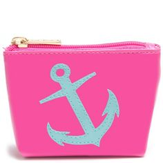 "Pink ""Mini Avery"" Cosmetic Bag with Light Blue Anchor - LoloBag"