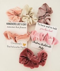 bachlorette party ideas Hair scrunchies are the perfect bachelorette party favor! We customize the packaging with your bachelorette party details as an added the number of scru Bachlorette Party, Bachelorette Party Shirts, Bachelorette Party Decorations, Bachelorette Weekend, Bachelorette Ideas, Bachelorette Checklist, Bachelorette Party Pictures, 21st Party Decorations, Nautical Bachelorette