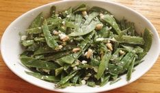 Snow Pea Salad With Feta and Pine Nuts