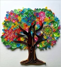 Quilling paper tree of joytreeoflife gift wedding tree | Etsy Arte Quilling, Quilling Work, Paper Quilling Jewelry, Origami And Quilling, Paper Quilling Patterns, Quilled Paper Art, Quilling Paper Craft, Paper Crafting, Quilling Ideas