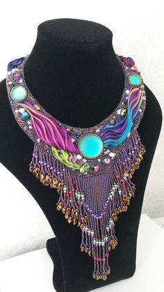 Statement necklace boho special occasion turquoise by CinziaDesign