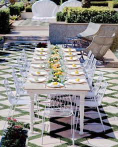 Host a Citrus Theme Party - Fashionable Hostess Brunch Table Setting, Table Settings, Fashionable Hostess, Outdoor Seating, Outdoor Decor, Baby Shower Princess, Waterfront Homes, Party Themes, Themed Parties