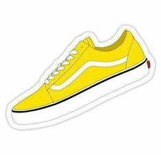 'Yellow Shoes' Sticker by sydminarik – Car stickers Bubble Stickers, Phone Stickers, Cool Stickers, Printable Stickers, Bumper Stickers, Ukulele Stickers, Yellow Vans, Yellow Shoes, Tumblr Skate