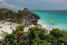 Ancient Mayan Ruins of Tulum in the Yucatan Peninsula of Mexico Overlook Caribbean Sea