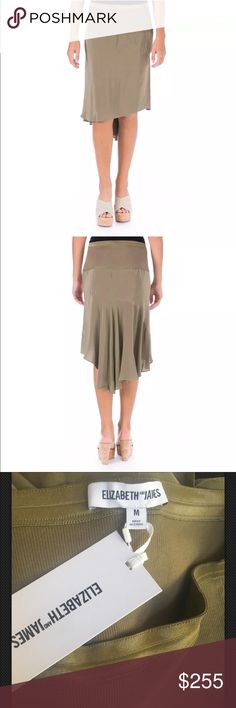 NWT $255 Elizabeth and James green silk skirt Manufacturer: Elizabeth and James Size: XS Size Origin: US Manufacturer Color: Olive Retail: $255.00 Condition: New with tags Style Type: A-Line Collection: Elizabeth and James Bottom Closure: Elastic Length: Mid-Calf Total Skirt Length: 27 1/2 Inches Waist Across: 14 Inches Hips Across: Inches Material: 100% Silk/97% Cotton/3% Spandex Fabric Type: Silk Elizabeth and James Skirts High Low