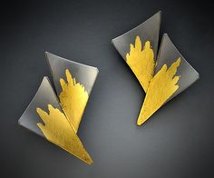 Starburst+Earrings by Judith+Neugebauer: Gold+&+Silver+Earrings available at www.artfulhome.com