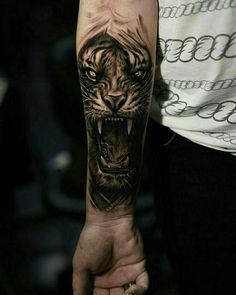 Tattoo Bicep, Tigergesicht Tattoo, Forearm Cover Up Tattoos, Cover Up Tattoos For Men, Lower Arm Tattoos, Money Tattoo, Forarm Tattoos, Dope Tattoos, Body Art Tattoos