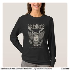 Team BRENNER Lifetime Member. Gift Birthday T-Shirt - Fashionable Women's Shirts By Creative Talented Graphic Designers - #shirts #tshirts #fashion #apparel #clothes #clothing #design #designer #fashiondesigner #style #trends #bargain #sale #shopping - Comfy casual and loose fitting long-sleeve heavyweight shirt is stylish and warm addition to anyone's wardrobe - This design is made from 6.0 oz pre-shrunk 100% cotton it wears well on anyone - The garment is double-needle stitched at the…