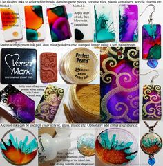 Alcohol ink tutorial for decorating white beads, acrylic shapes, plastic, ceramic tiles, domino game pieces etc. Perfect Pearls or Pearl-ex mica powders can be used with clear embossing ink pad for a metallic shimmer effect. Seal with spray can Kamar Varnish to keep the sparkle in place. Learn about Alcohol Inks - Tutorials using Adirondack brand by Ranger Ink / Tim Holtz. More at www.TheEnchantedGallery.com