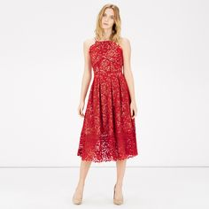 Warehouse, LACE HALTER DRESS Bright Red 2