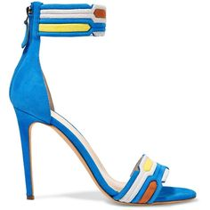 Peter Pilotto Woman Quilted Suede And Snake-effect Leather Sandals Azure Size 36.5 ivjDbBSKyx