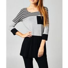 """LOWEST """"Charm"""" Colorblock Striped Tunic Top Colorblock striped 3/4 sleeve tunic top. Available in grey and mocha. This listing is for the GREY. Brand new. True to size. NO TRADES DON'T ASK. LOWEST PRICE. Bare Anthology Tops Tunics"""