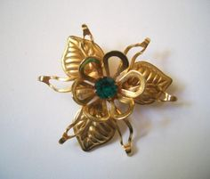 Vintage Gold and Green Flower Brooch  Irene always suspected the girls were jealous. moddities, $18.00