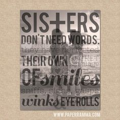 Sister gift // Sisters Don't need words // Style: BEACH //Archival Giclée Art Print // H-Q05-1PS
