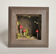 Mushroom Shadowbox Sculpture by Whimsēbox on Etsy