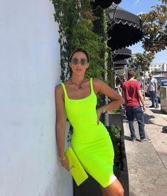 59 ideas neon green dress outfit summer for 2020 Neon Party Outfits, Neon Green Outfits, Neon Yellow Dresses, Green Dress Outfit, Summer Dress Outfits, Preppy Outfits, The Dress, Cute Outfits, Fashion Outfits