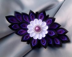 Large french barrette handmade hair bow tsumami kanzashi accessories gift for women girl japanese hair bow clip flower ribbon Black Purple