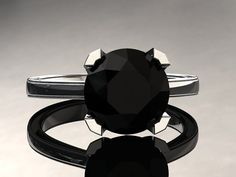 Natural+Black+Diamond+Engagement+Ring+Black+by+WinterFineJewelry