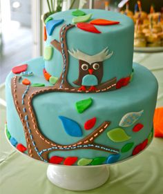 Baby Shower Owl cake to match Skip Hop crib bedding