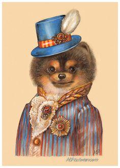 Pomeranian art print Maria Pishvanova